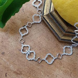 Nadri White Rhodium Arabesque Necklace